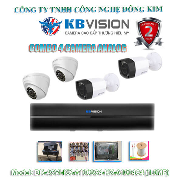 Bộ 4 camera Dome KBVISION 1.0