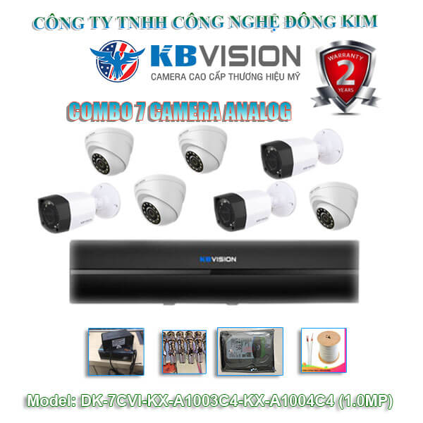Bộ 7 camera Dome KBVISION 1.0MP